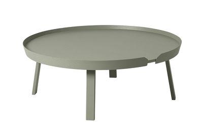 Tavolino basso Around XL / Ø 95 x H 36 cm - Muuto - Verde antico - Legno