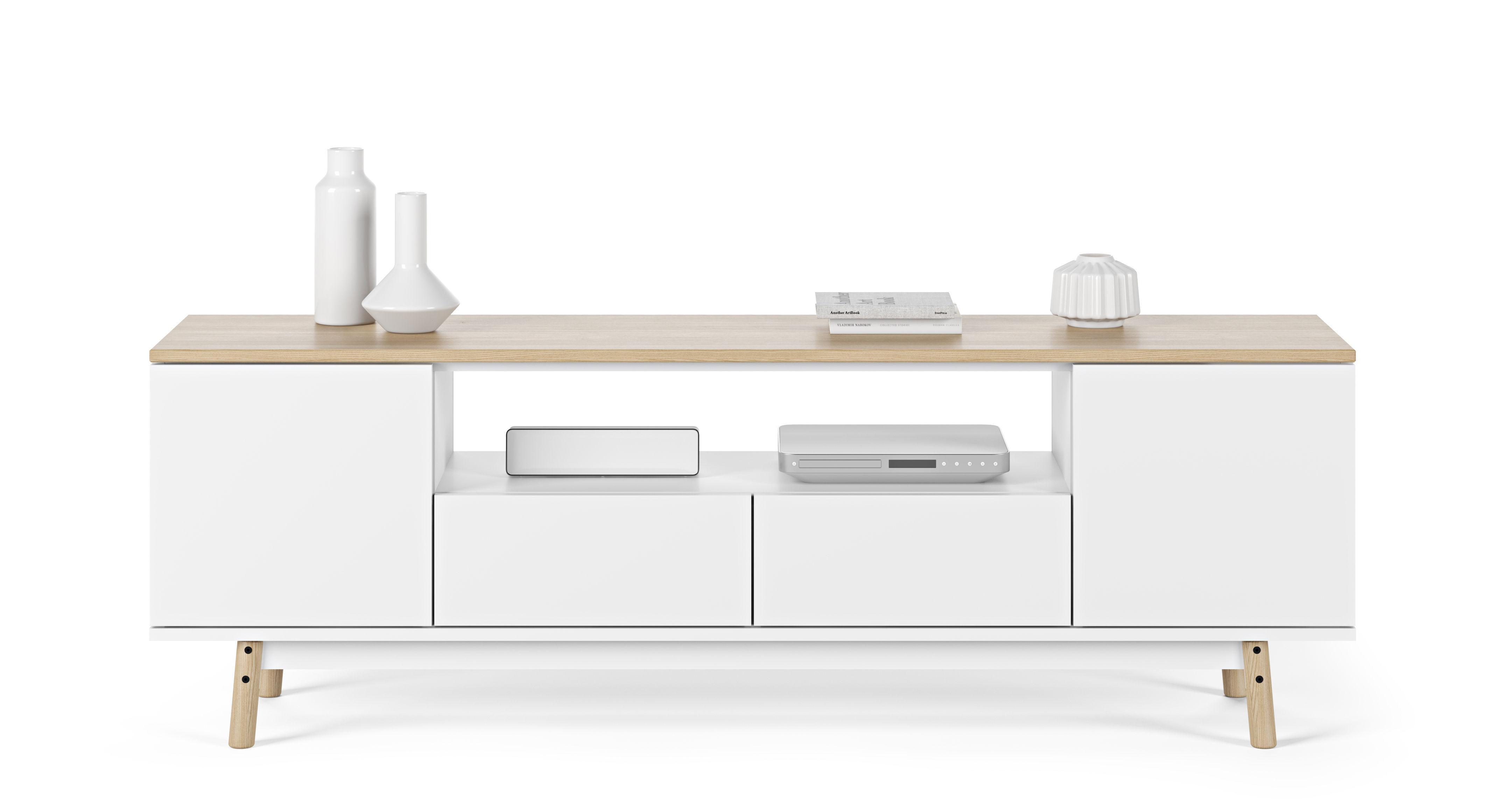 meuble tv milan ch ne l 185 cm plateau ch ne blanc pop up home made in design. Black Bedroom Furniture Sets. Home Design Ideas