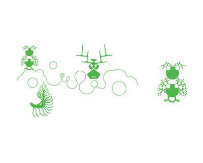 Déco - Stickers, papiers peints & posters - Sticker Green Bubble Line Island - Domestic - Vert - Vinyle