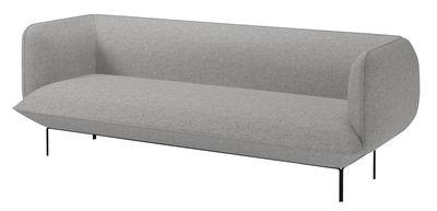 Divano destro Cloud - 3 posti / L 222 cm - Tessuto di Bolia - Nero,Grigio chiaro - Tessuto