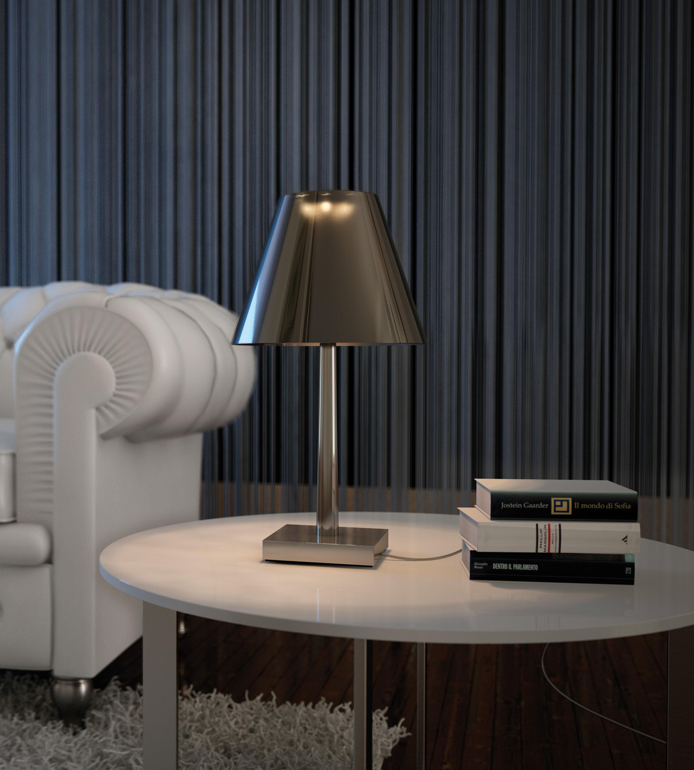 Lampe de table dina led structure aluminium abat jour for Structure d abat jour