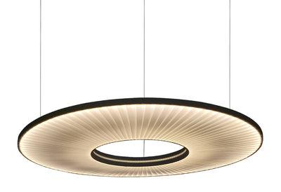 Luminaire - Suspensions - Suspension Iris Horizontale LED / Ø 60 cm - Tissu & éclairage recto-verso - Dix Heures Dix - Ø 60 cm / Tissu blanc - Métal, Tissu