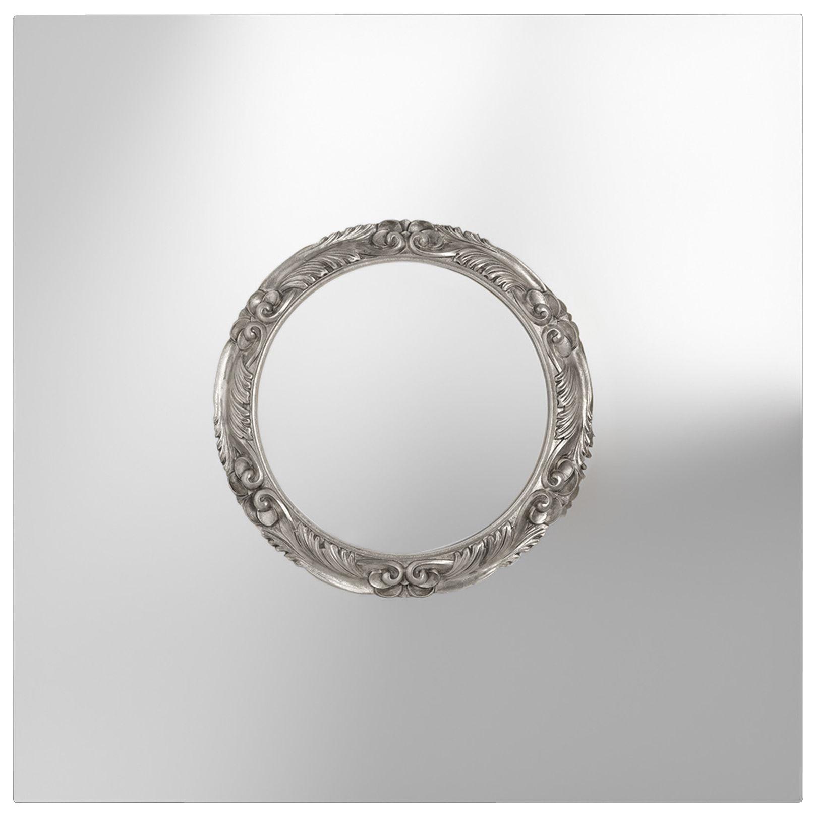 Miroir ritratto 110 x 110 cm miroir cadre rond argent for Miroir 110 x 90
