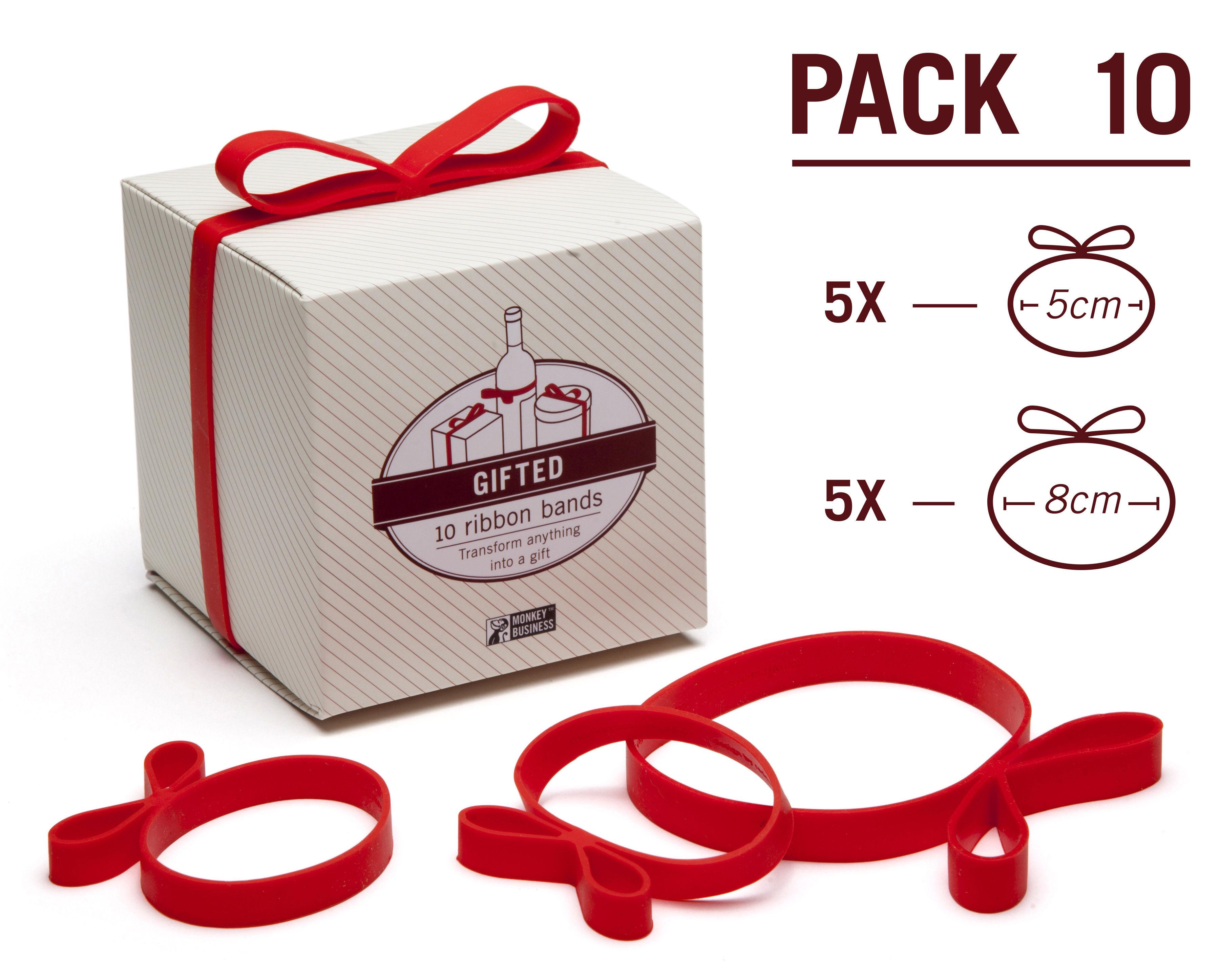 elastique gifted en forme de ruban pour cadeaux lot de 10 rouge pa design. Black Bedroom Furniture Sets. Home Design Ideas