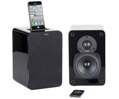 Enceinte Bluetooth EVO E4i Set 2 enceintes avec dock iPod iPhone Tangent noir en bois