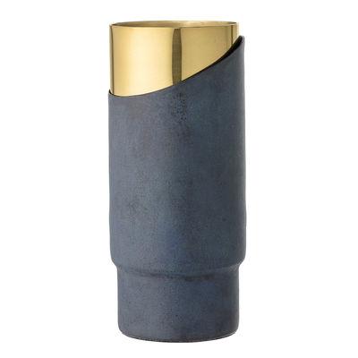 Vase Metal H 23 Cm Blue Gold By Bloomingville