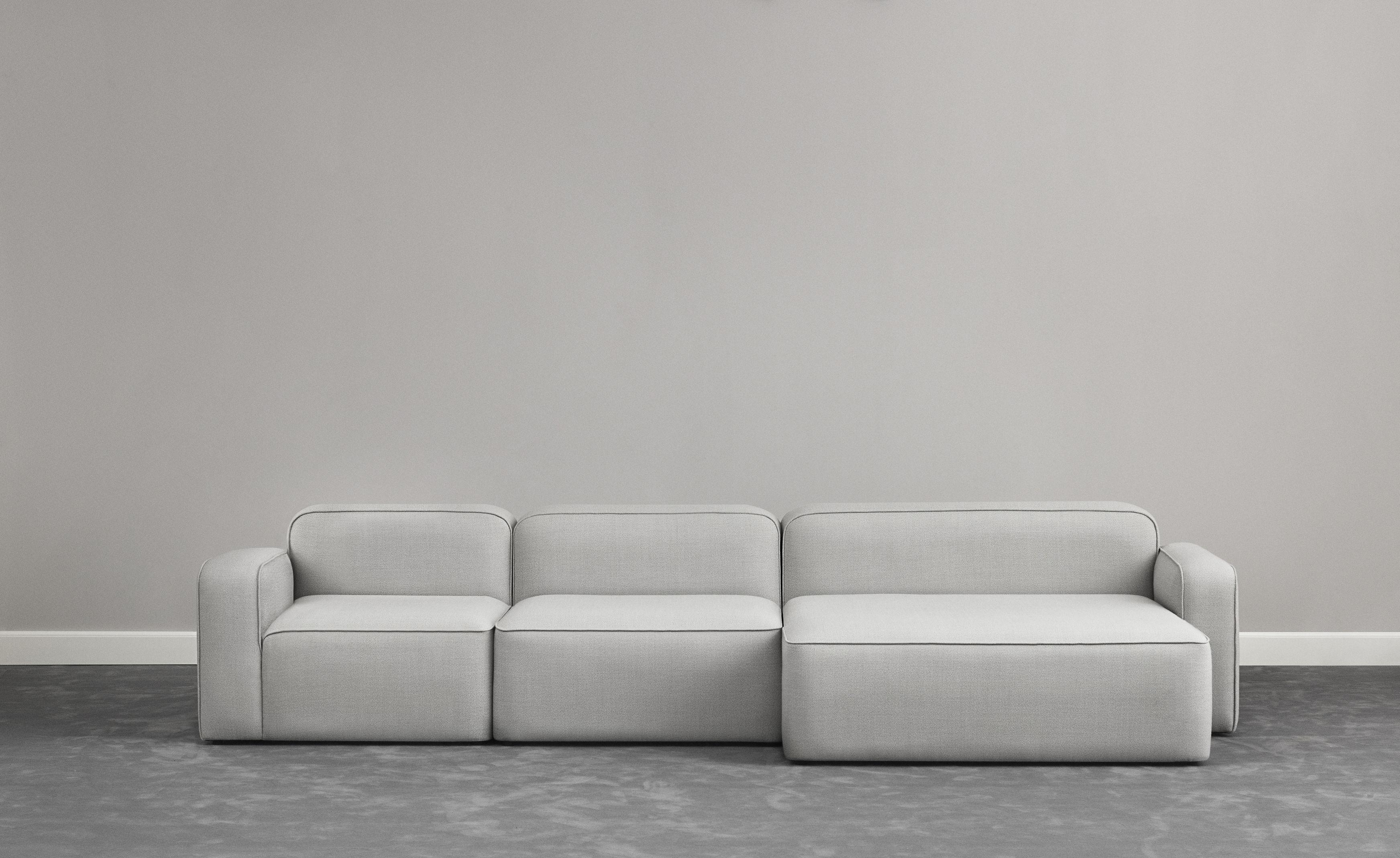 Rope modular sofa open left side l 120 cm light grey for Sofa 120 cm lang