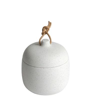 Pot Socoa / Grès - Ø 11 x H 12,5 cm - ENOstudio blanc,cuir naturel en cuir