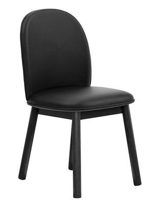 Mobilier - Chaises, fauteuils de salle à manger - Chaise rembourrée Ace / Cuir & bois - Normann Copenhagen - Cuir noir - Chêne peint, Cuir Tango