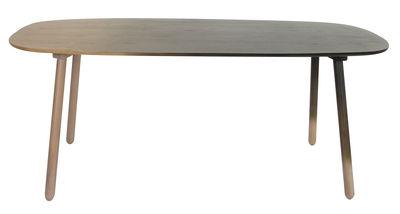 Tendances - Espace Repas - Table Ombree / Chêne & dégradé noir - L 190 cm - ENOstudio - Bois naturel / Dégradé noir - Chêne massif, Placage chêne