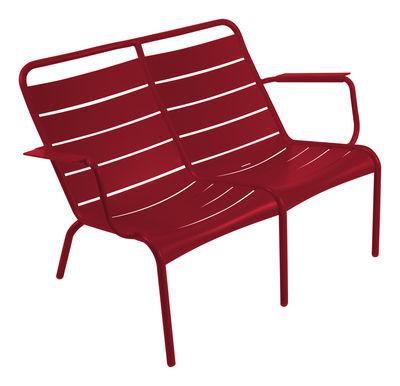 Life Style - Banc avec dossier Luxembourg Duo / 2 places - L 119 cm - Aluminium - Fermob - Piment - Aluminium