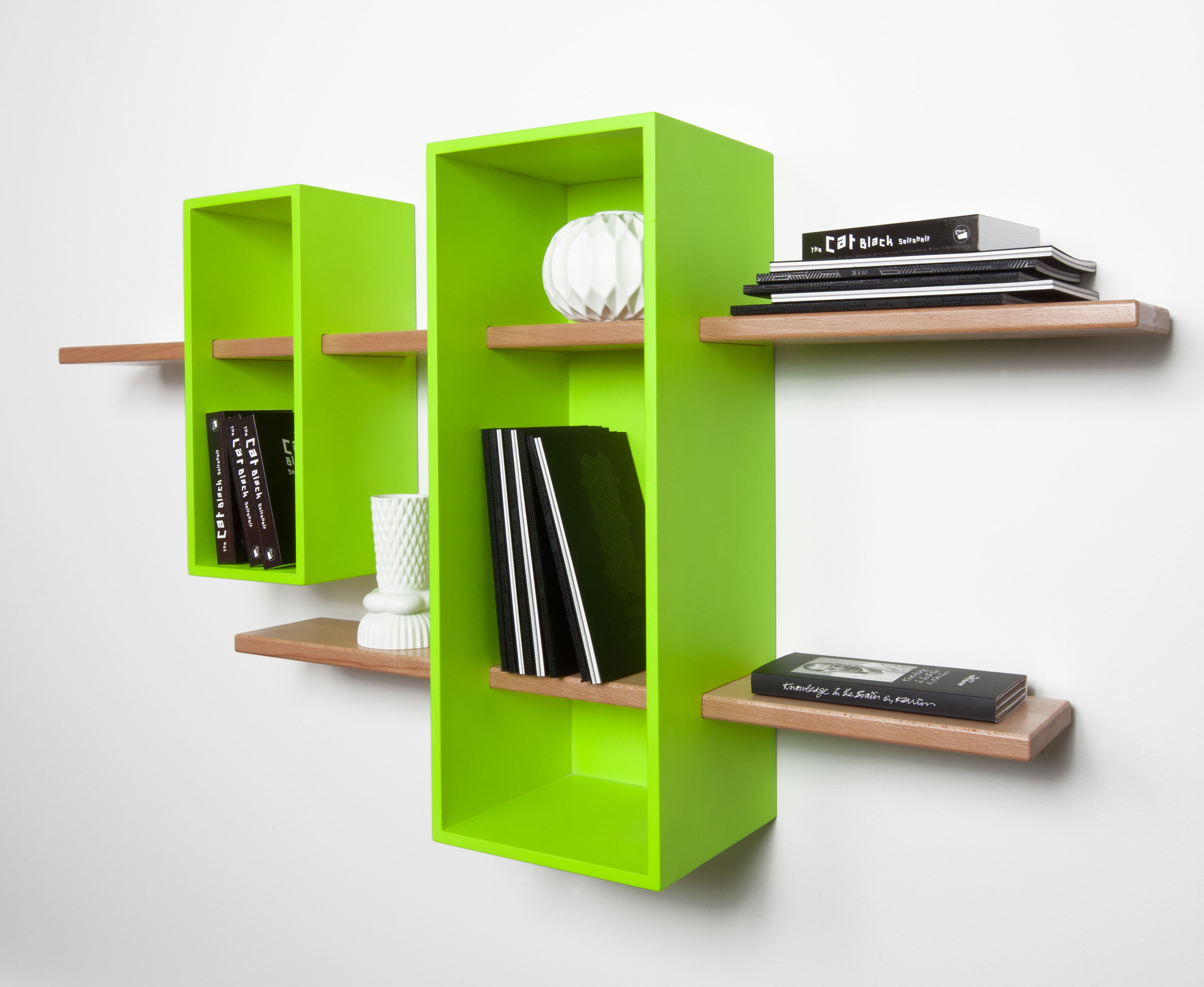 Max shelf double exclusive colour green yellow - Exclusive decoration of book shelf ...