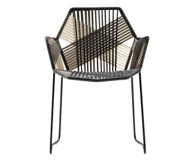 Mobilier - Chaises, fauteuils de salle à manger - Fauteuil Tropicalia / Assise souple en fils polymère - Moroso - Noir & gris / Structure noire - Acier verni, Polymère