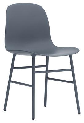 Chaise Form / Pied métal - Normann Copenhagen bleu nuit en métal