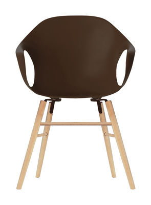 Chaise Elephant Wood / Coque plastique & pieds bois - Kristalia marron en matière plastique