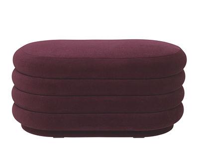 Pouf Oval Medium / 90 x 42 cm - Velours - Ferm Living bordeaux en tissu