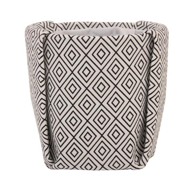cache pot medium tissu 13 x h 13 5 cm noir blanc. Black Bedroom Furniture Sets. Home Design Ideas