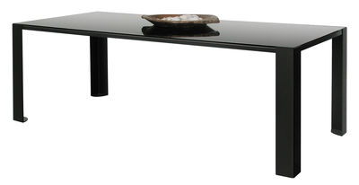 Furniture - Dining Tables - Big Irony Black Glass Table - Black glass table top - L 200 cm by Zeus - Black glass top / bronze mirror - Glass, Painted steel