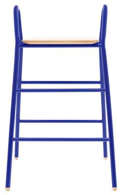 Mobilier - Tabourets de bar - Tabouret de bar Lucien / H 75 cm - Assise bois - Hartô - Bleu réaliste - Acier laqué, Chêne massif