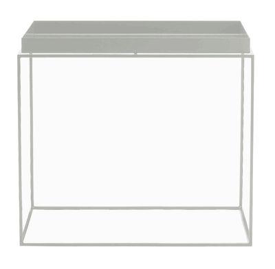 Tavolino basso Tray H 50 cm / 60 x 40 cm - Rettangolare - Hay - Grigio chiaro - Metallo