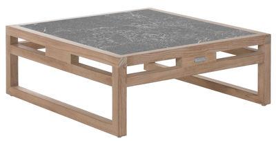 Tavolino Kontiki - / Pietra lavica - 80x80 cm di Emu - Grigio,Teck - Legno