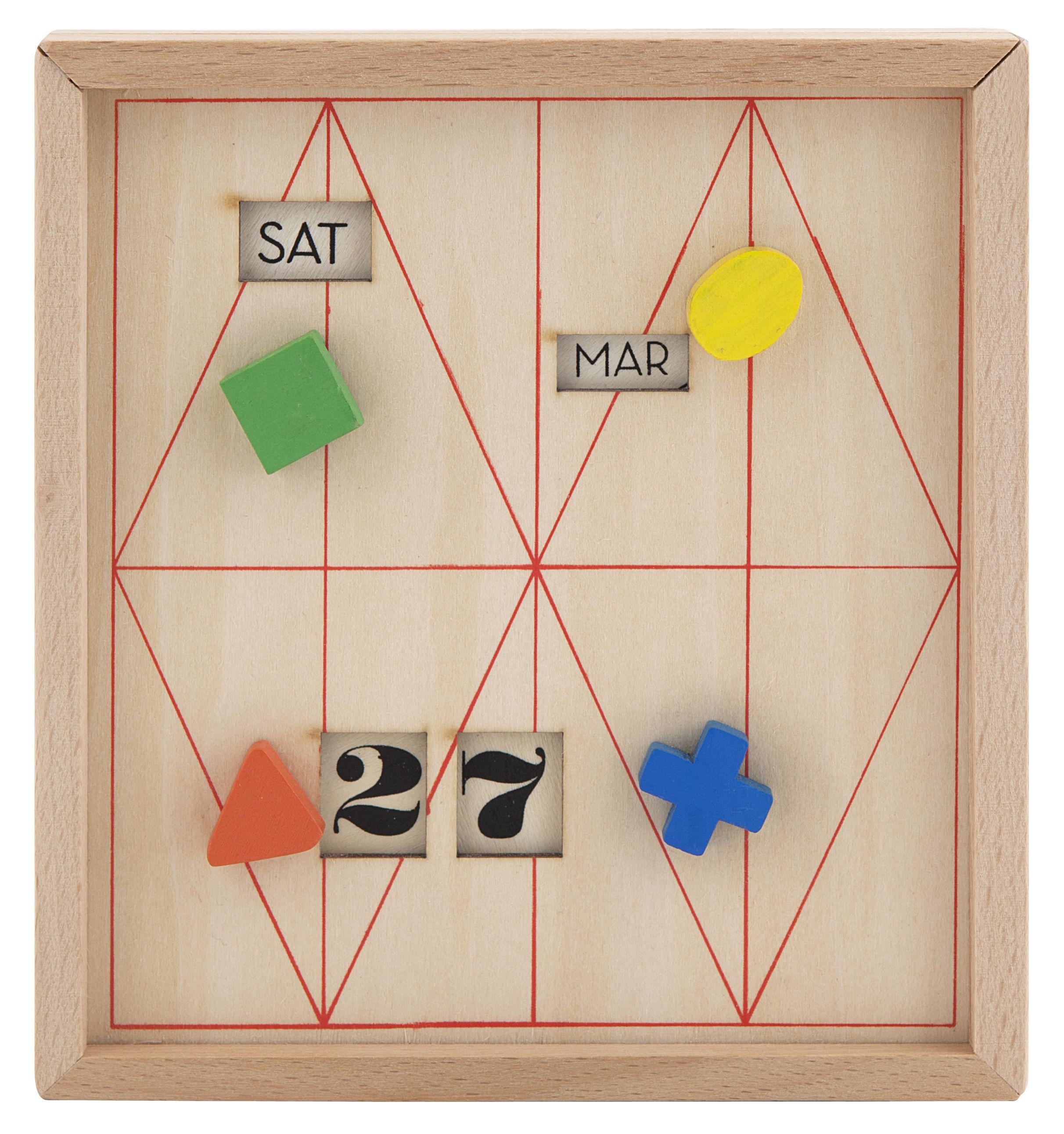 Year Calendar Kikkerland : Perpetual calendar box wood multicolored by kikkerland made