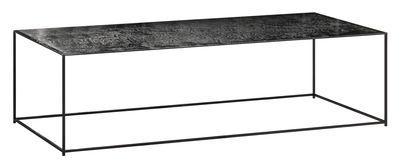 Table basse Slim Irony Art / 124 x 62 cm - Plateau verre effet métal fondu - Zeus noir cuivré,aluminium patiné en verre