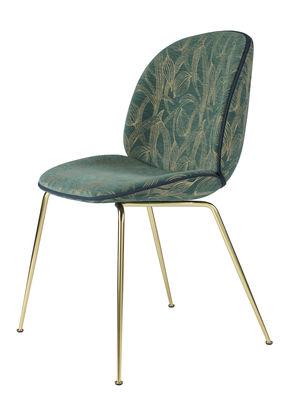 Chaise rembourrée Beetle Gamfratesi Tissu Gubi vert,laiton en métal