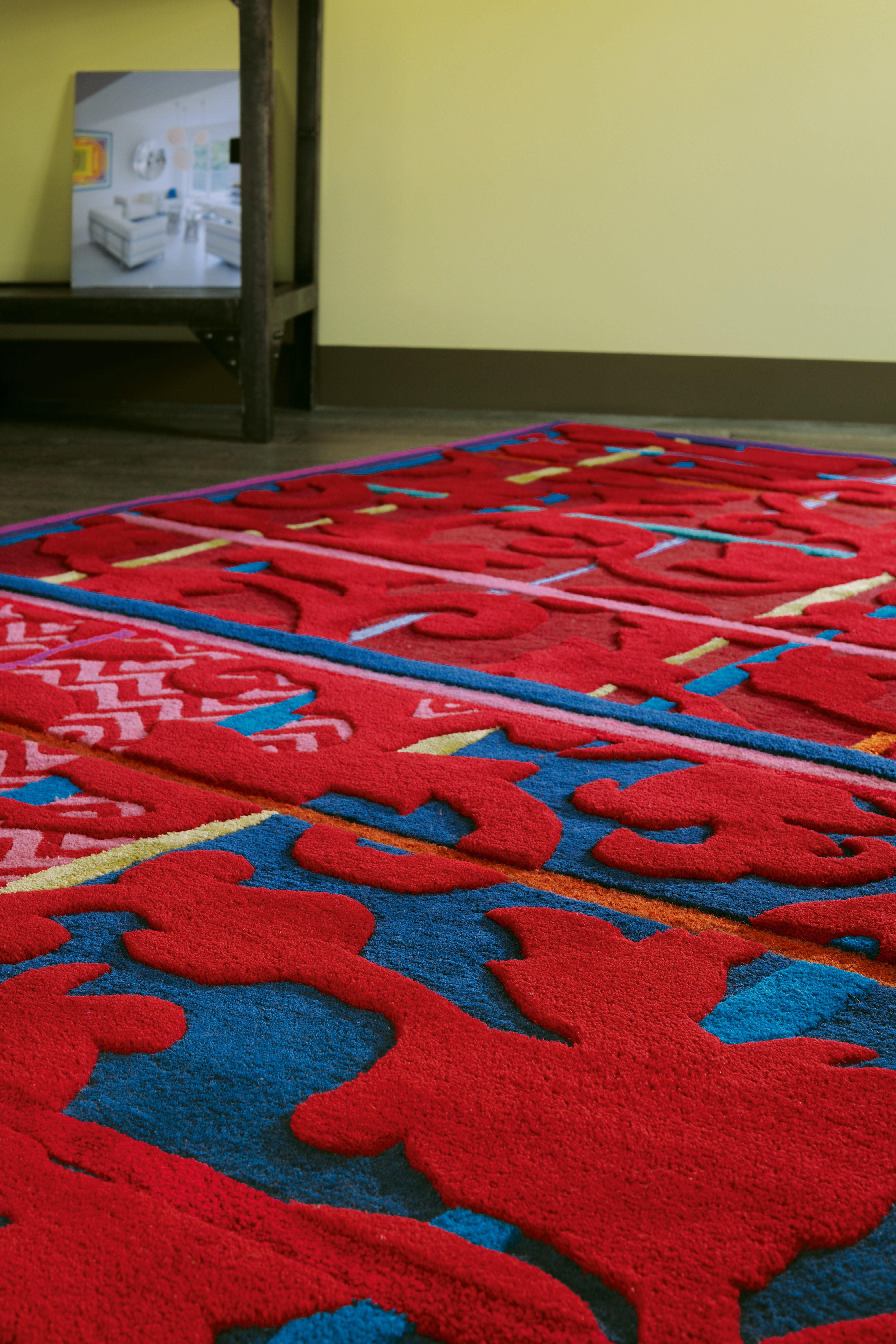 tapis ispahan by florence bourel 170 x 240 cm tuft main rouge toulemonde bochart. Black Bedroom Furniture Sets. Home Design Ideas