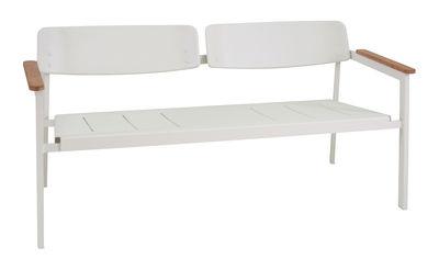Foto Panca con schienale Shine / 2 posti - L 147 cm - Emu - Bianco,Teck - Metallo