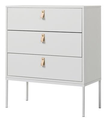 Cassettiera Cute drawers / 3 cassetti - L 70 x H 85 cm - Bloomingville - Grigio chiaro - Metallo