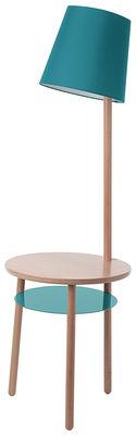 Mobilier - Tables basses - Lampadaire Josette / Table d'appoint - Ø 45 x H 52 cm - Hartô - Bleu d'eau - Coton, Hêtre massif, Métal laqué