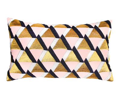 Déco - Coussins - Coussin Triangle / 30 x 50 cm - & klevering - Triangles / Rose & or - Coton, Lurex, Plumes