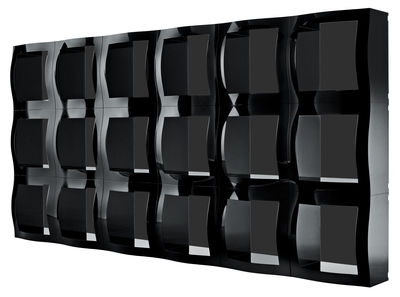Furniture - Bookcases & Bookshelves - Boogie Woogie Shelf - Modular container by Magis - Black with back - Methacrylate