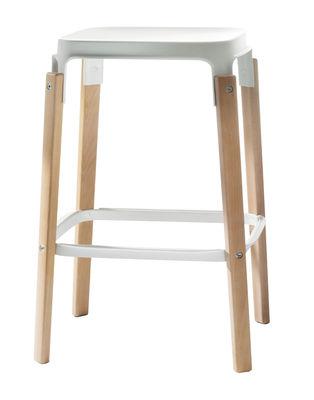 Furniture - Bar Stools - Steelwood Bar stool - Wood & metal - H 68 cm by Magis - Natural beech / White - Beechwood, Varnished steel