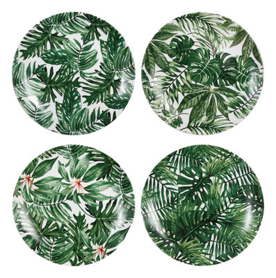 Arts de la table - Assiettes - Assiette Leaves / Set de 4 - Porcelaine - & klevering - Feuilles / Vert - Porcelaine