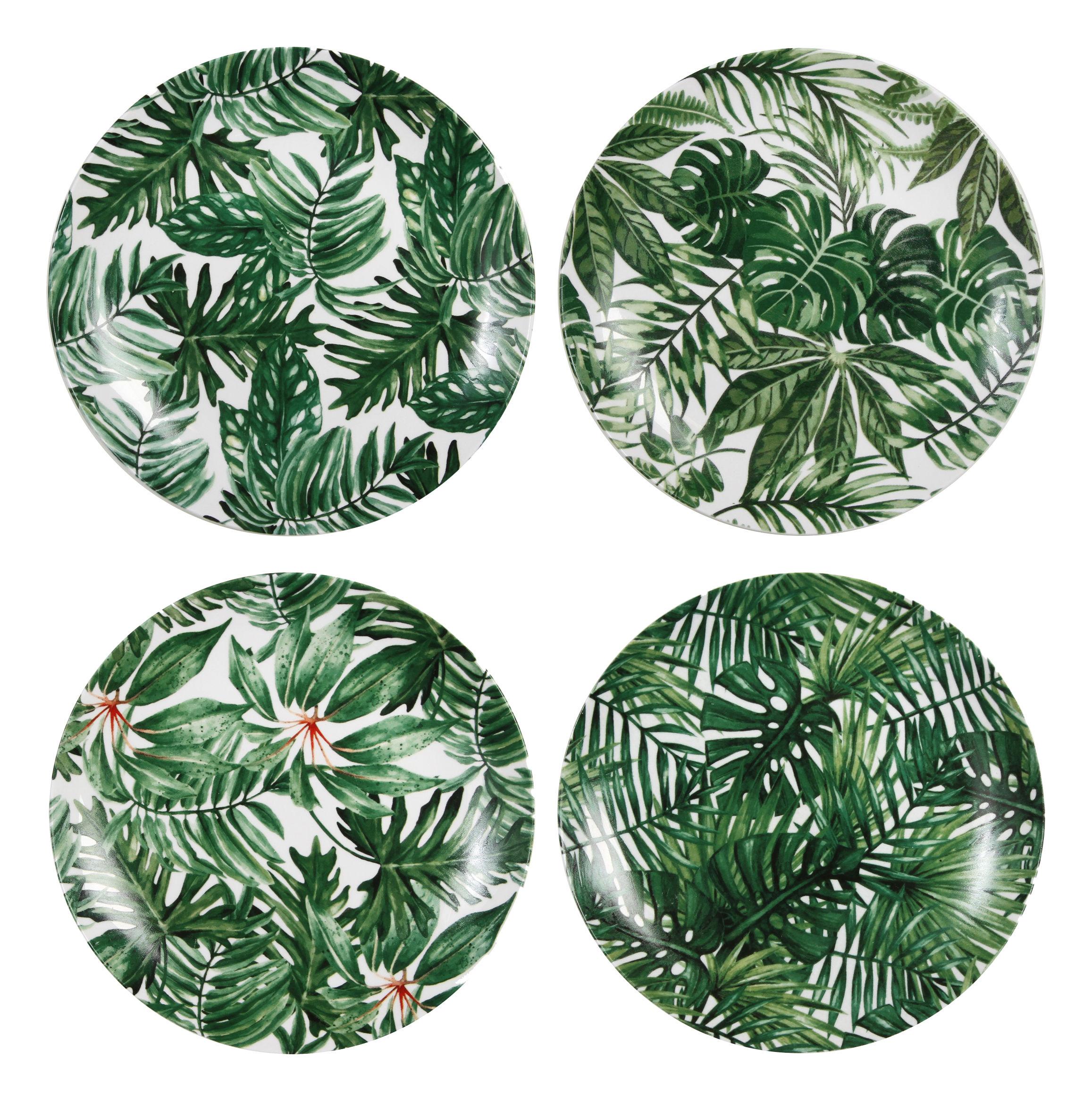 Assiette leaves set de 4 porcelaine feuilles vert for Set de table feuille