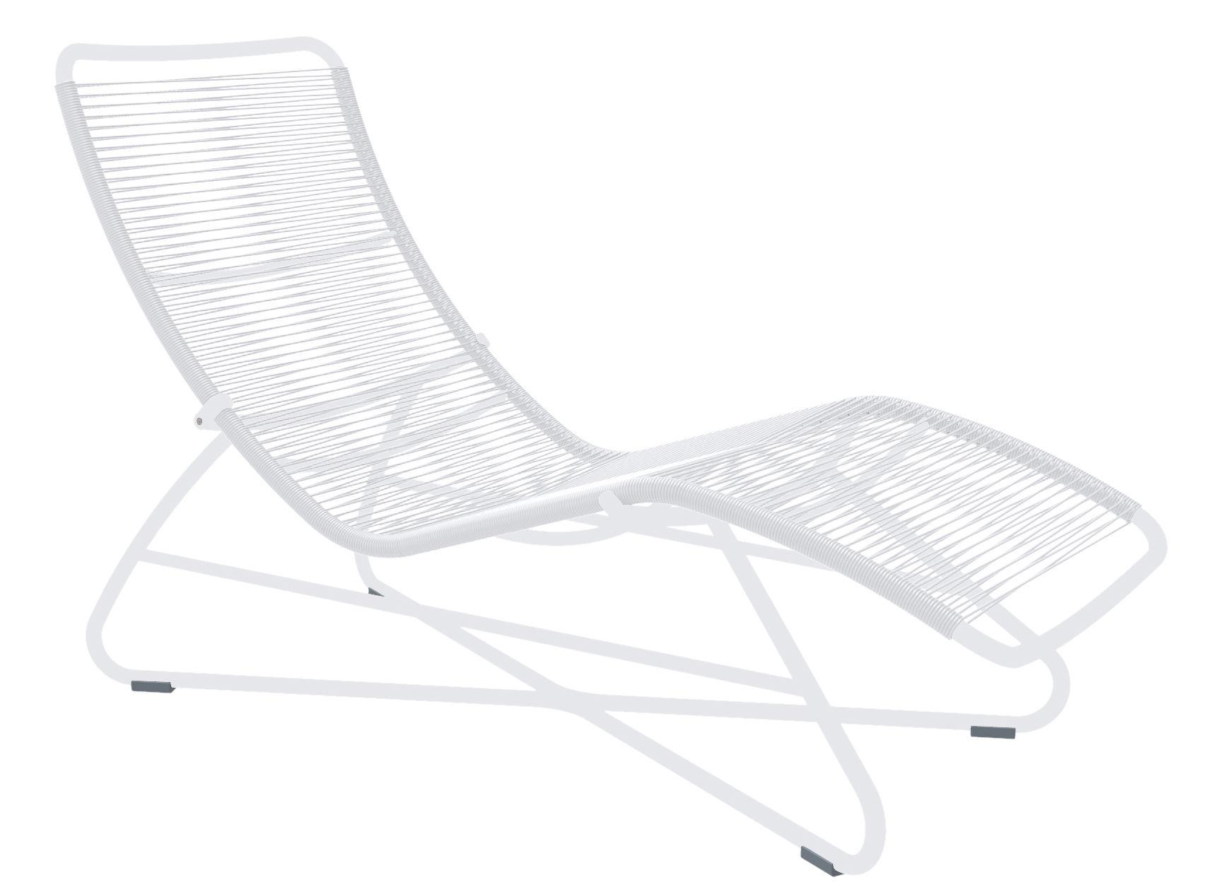 Chaise longue saint tropez blanc structure blanche fermob for Chaises longues blanches