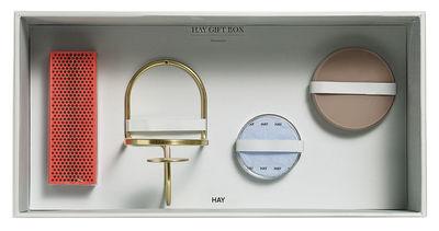 Coffret Déco Large / 1 bougeoir mural, 2 boîtes verre, 1 boîte allumettes - Hay rouge,or,beige en métal