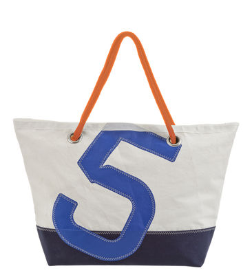 Accessoires - Sacs, trousses, porte-monnaie... - Sac week-end Carla / Dacron® - Voile bateau recyclée - 727 Sailbags  - Bleu marine & blanc / Chiffre bleu - Tissu acrylique, Voile Dacron®