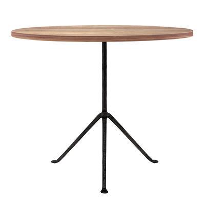 Officina Outdoor Tisch / Ø 80 cm - Tischplatte aus Holz - Magis - Schwarz,Esche, dunkel