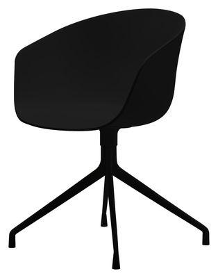 Poltrona girevole About a chair - 4 piedi - Girevole di Hay - Nero - Materiale plastico