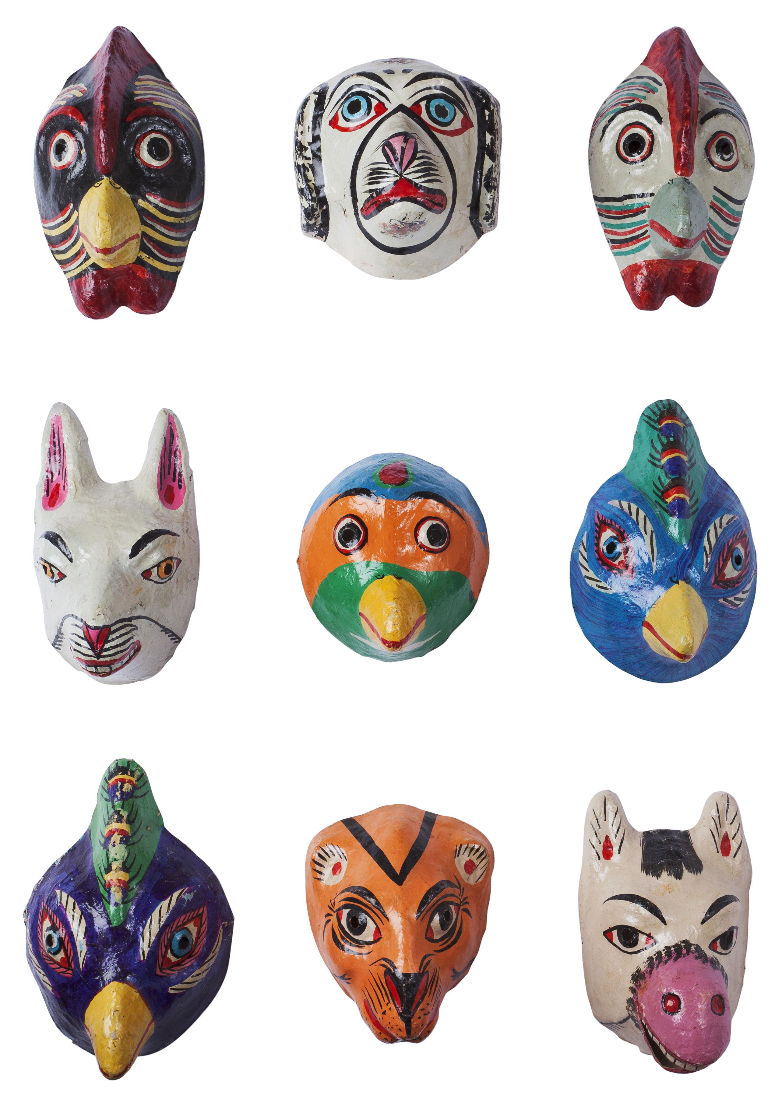 Masque animal papier m ch fait main multicolore hay - Masque papier mache ...