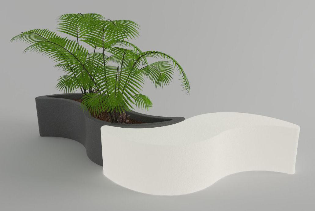 Jardini re wave banc l 160 cm plastique blanc slide for Jardiniere en beton cellulaire