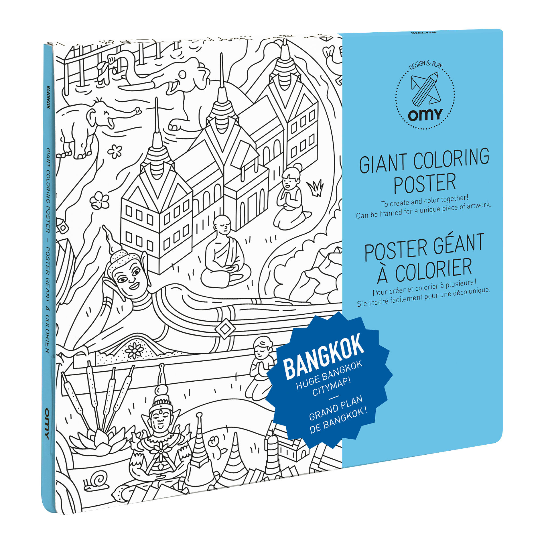 bangkok colouring poster 100 x 70 cm bangkok by omy design play. Black Bedroom Furniture Sets. Home Design Ideas