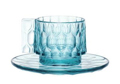 Tasse à café Jellies Family / Set tasse + soucoupe - Kartell bleu ciel en matière plastique