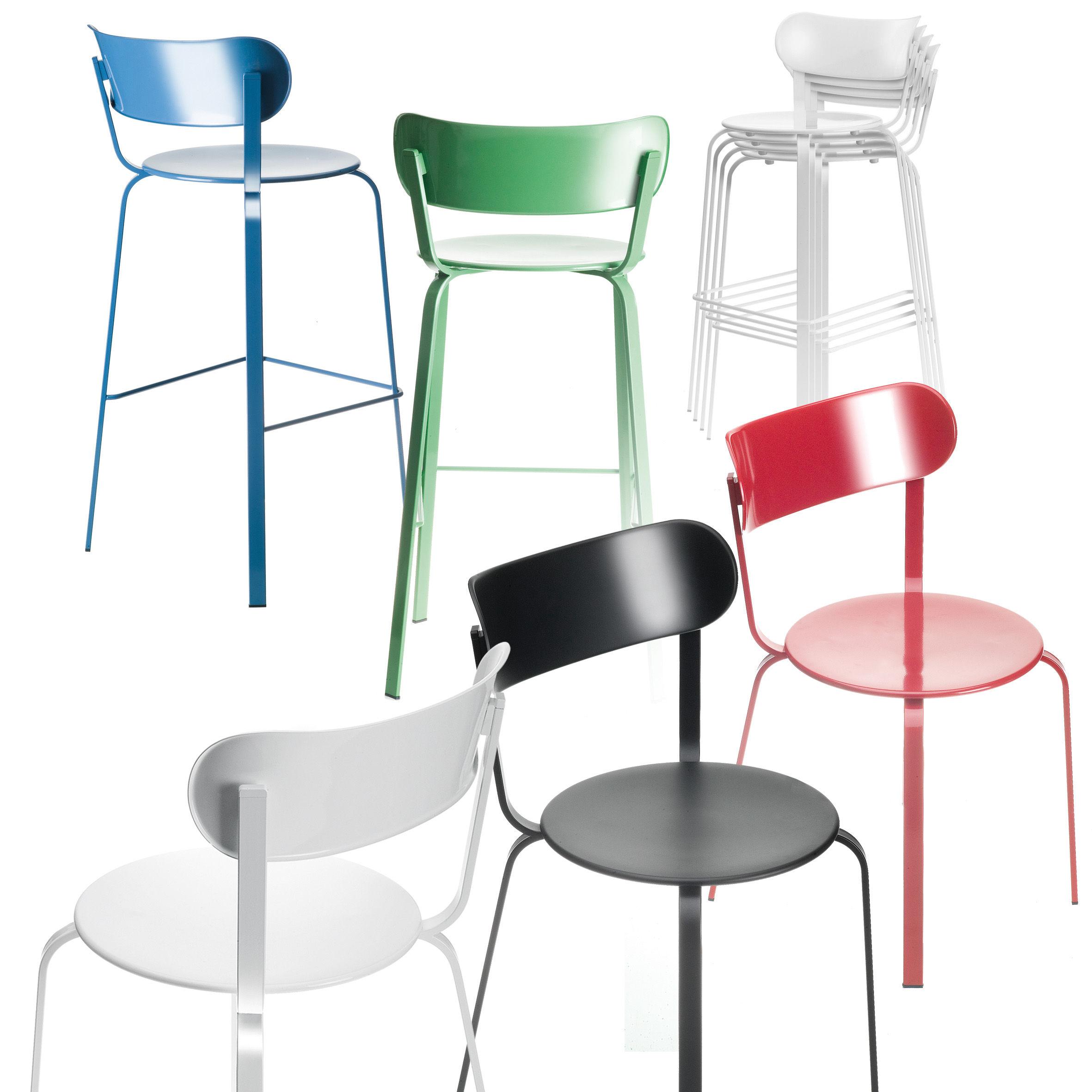 chaise de bar stil h 75 cm m tal m tal laqu noir lapalma made in design. Black Bedroom Furniture Sets. Home Design Ideas