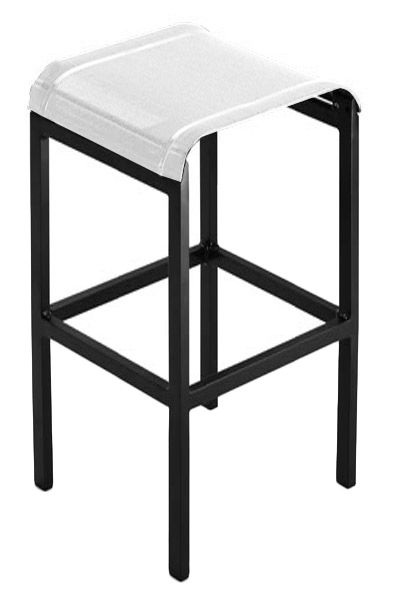 tabouret de bar tandem h 80 cm toile toile blanche structure anthracite ego. Black Bedroom Furniture Sets. Home Design Ideas