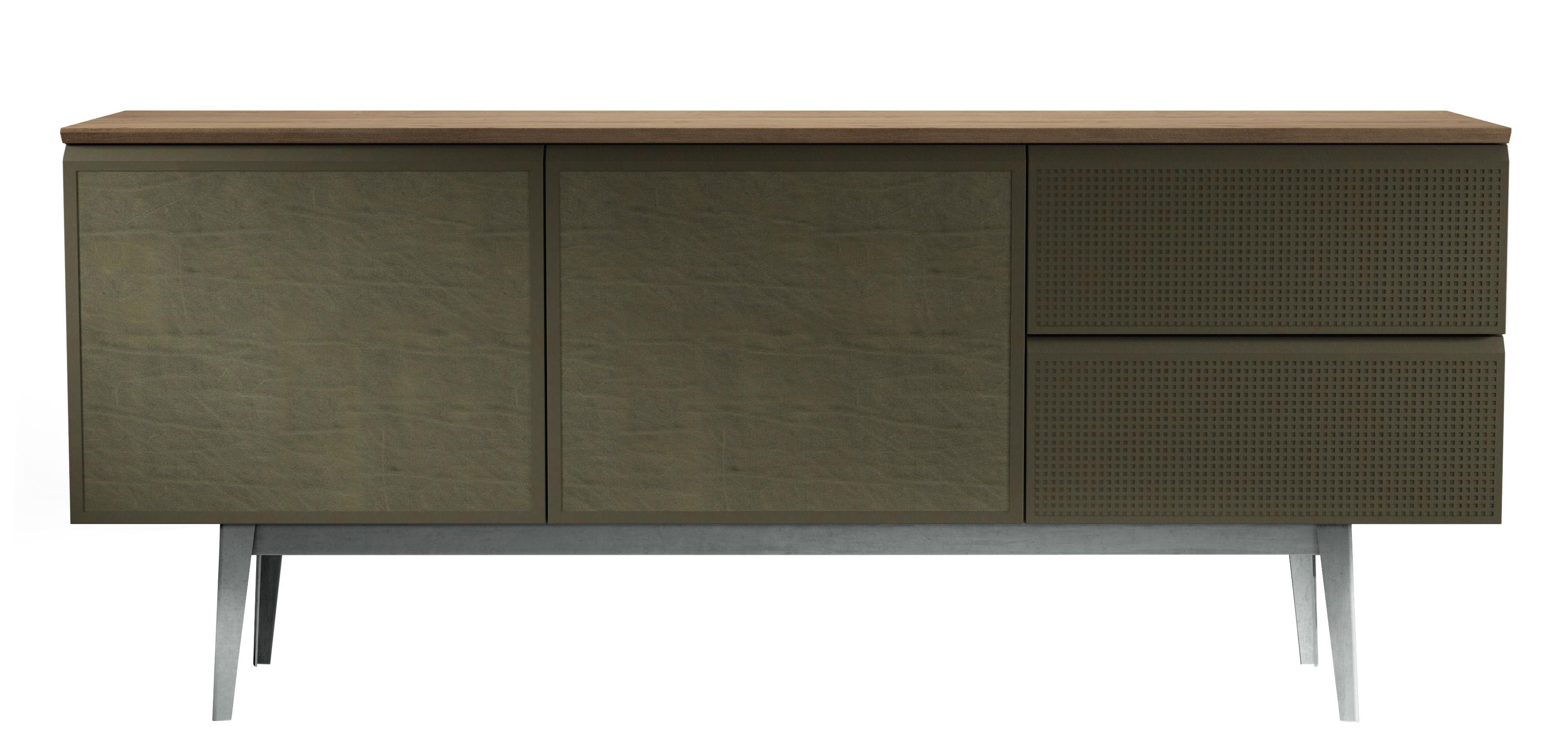 buffet voltaire l 180 cm 2 portes cuir vert portes cuir vert plateau bois diesel with. Black Bedroom Furniture Sets. Home Design Ideas