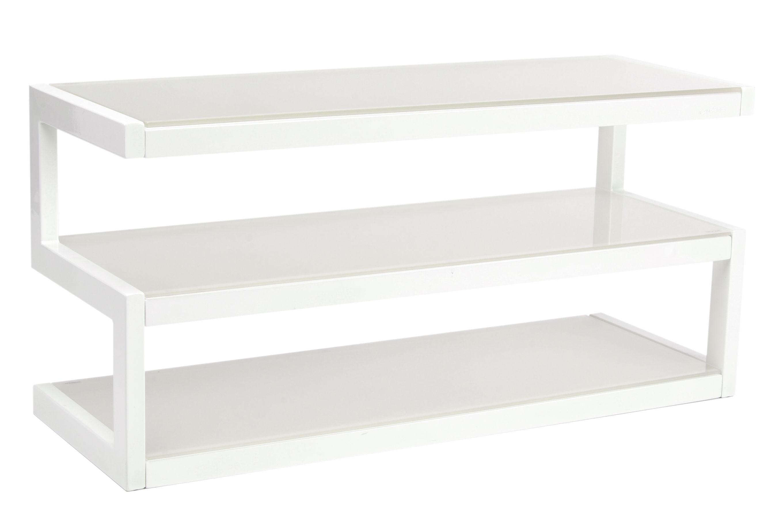 meuble tv esse l 110 cm blanc verre d poli norstone. Black Bedroom Furniture Sets. Home Design Ideas